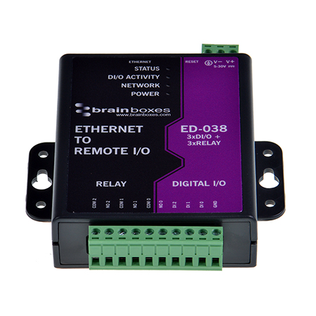 Ethernet to 3 Relay + 3 Digital In - ED-038 - Brainboxes
