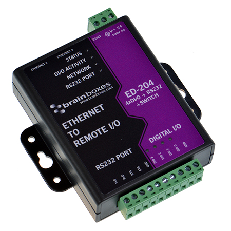 ed 204 ethernet to 4 dio rs232 switch