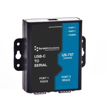 us 757 brainboxes usb c to 2 port rs232 serial server hub