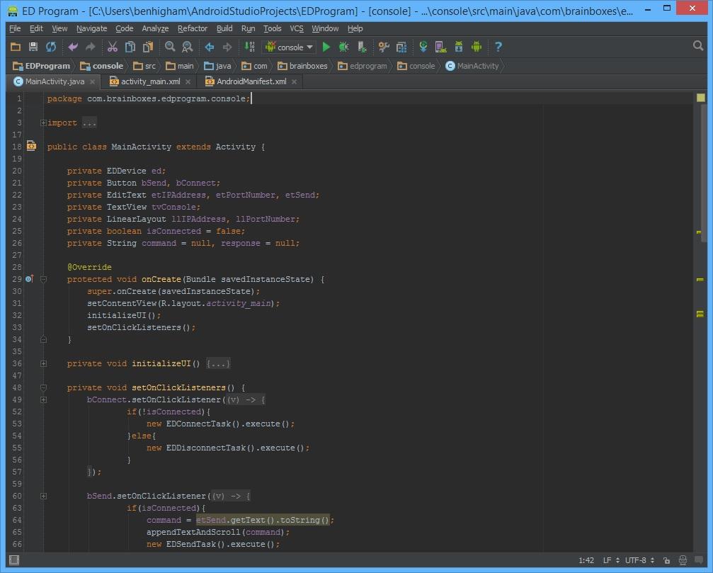 Android Studio with the Brainboxes.IO API