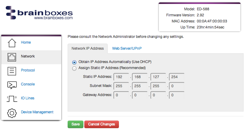 Brainboxes Remote IO Network Settings Page