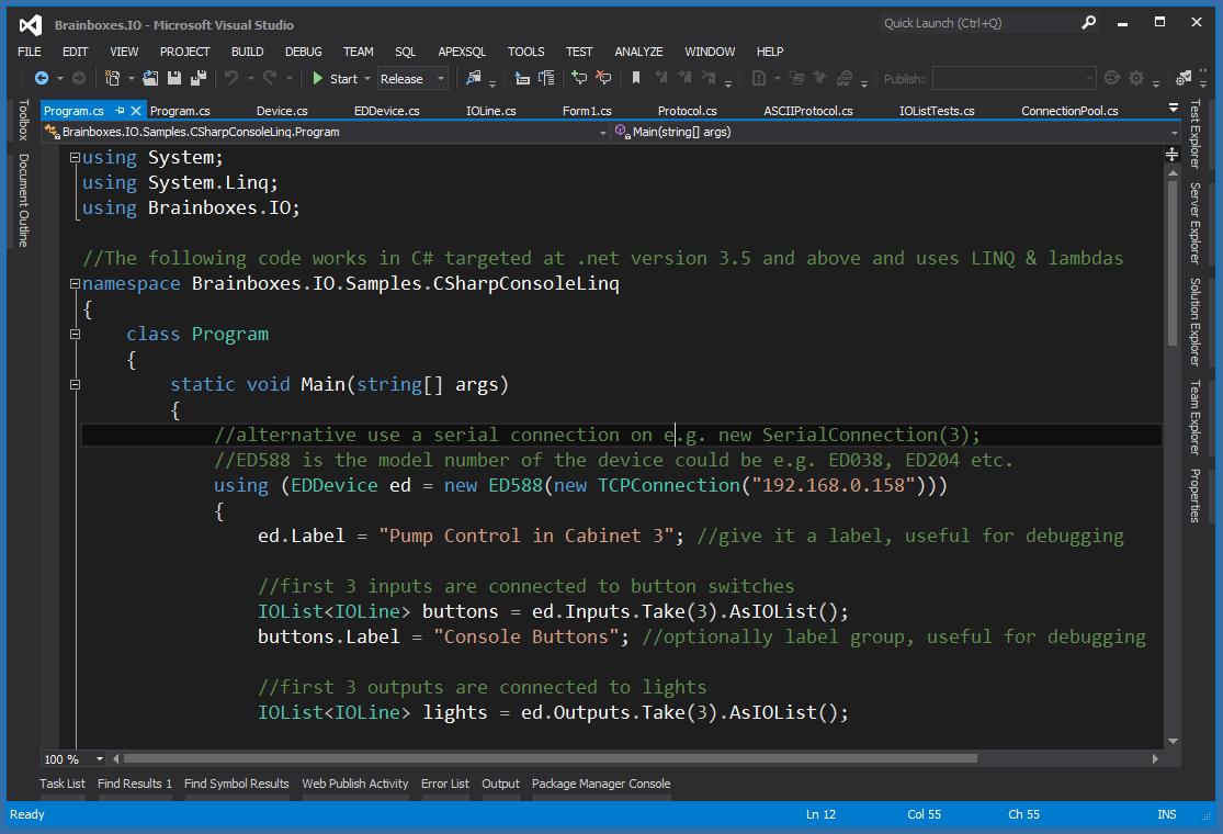 Brainboxes.IO C# API in visual studio
