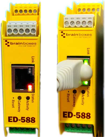 Left: status light red/yellow flashing no connection, right: status green, link flashing green, good connection