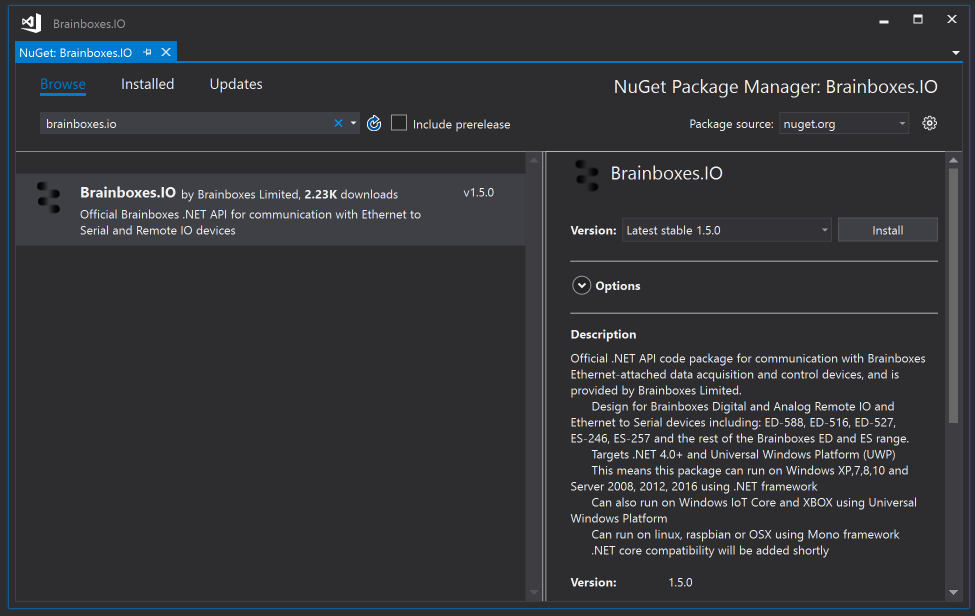 Download from Nuget using Visual Studio Striaght into your project