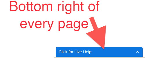 live chat available at the bottom right of every page